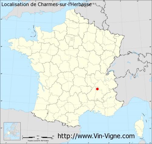 Carte de Charmes-sur-l'Herbasse