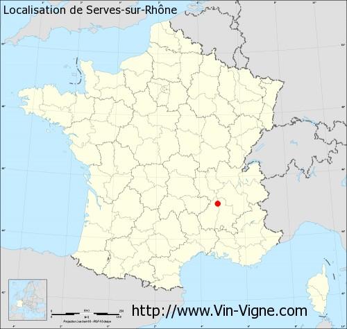 Carte de Serves-sur-Rhône