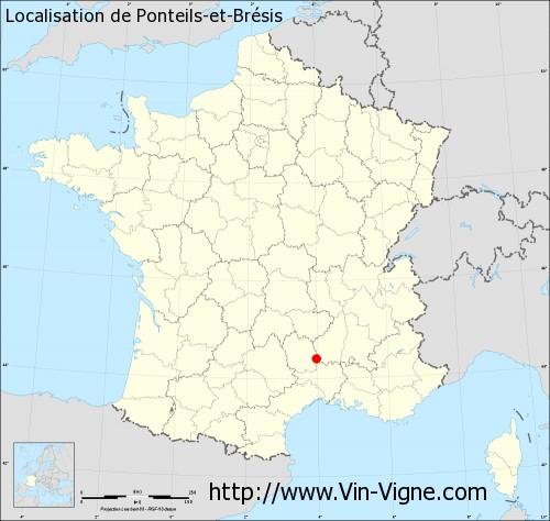 Carte de Ponteils-et-Brésis