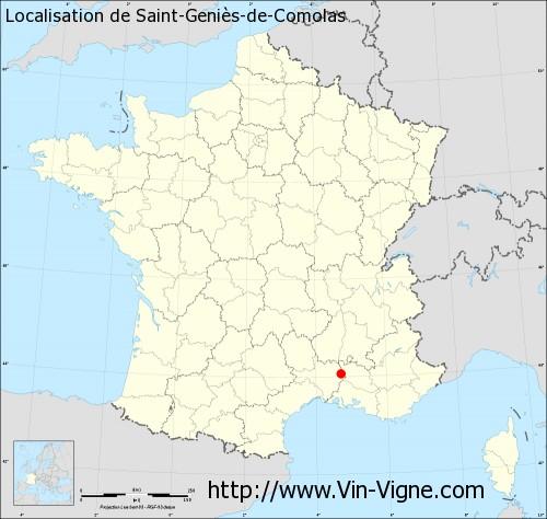 Carte de Saint-Geniès-de-Comolas