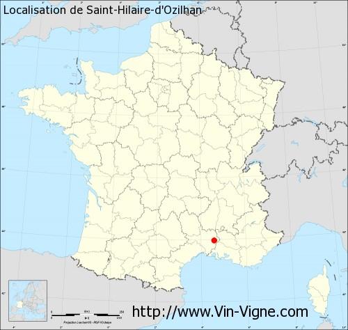 Carte de Saint-Hilaire-d'Ozilhan