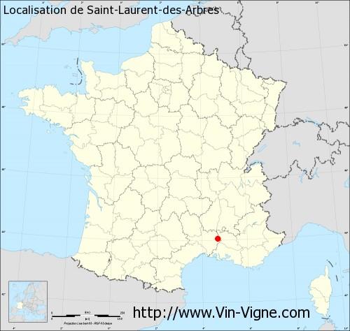 Carte de Saint-Laurent-des-Arbres
