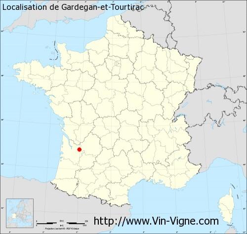 Carte de Gardegan-et-Tourtirac
