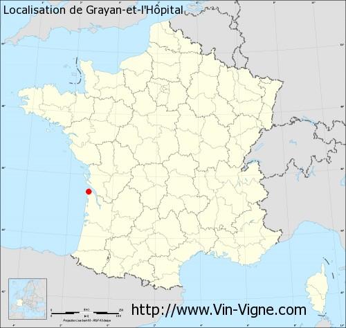 Carte de Grayan-et-l'Hôpital
