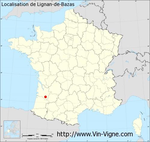 Carte de Lignan-de-Bazas