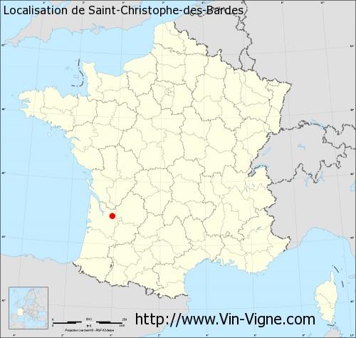 Carte  de Saint-Christophe-des-Bardes