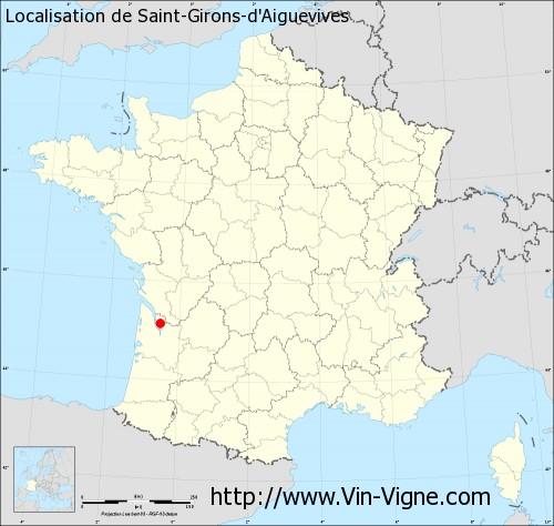 Carte de Saint-Girons-d'Aiguevives