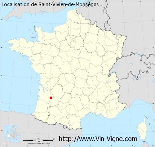 Carte de Saint-Vivien-de-Monségur