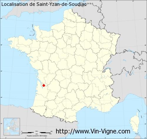 Carte de Saint-Yzan-de-Soudiac