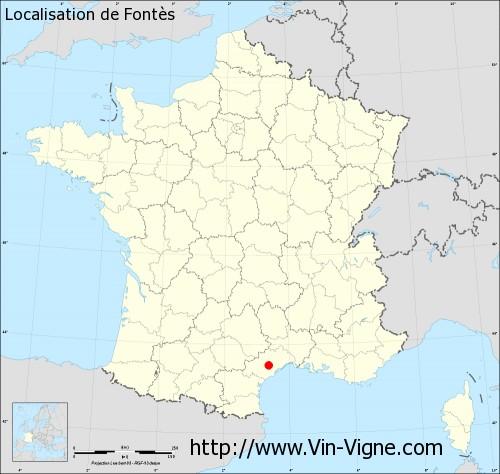 Carte  de Fontès