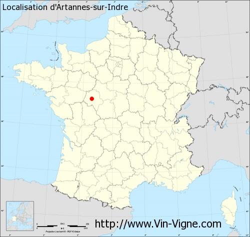 Carte d'Artannes-sur-Indre