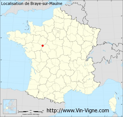 Carte de Braye-sur-Maulne