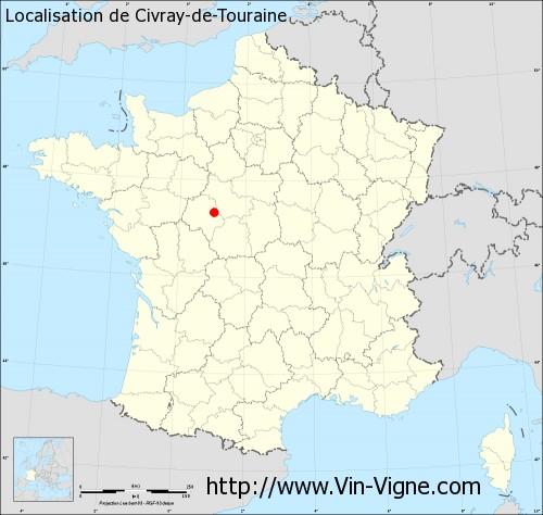 Carte de Civray-de-Touraine