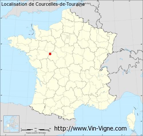 Carte de Courcelles-de-Touraine