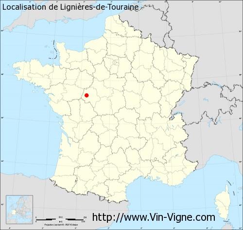Carte de Lignières-de-Touraine