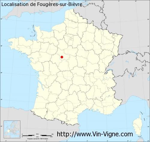 Carte de Fougères-sur-Bièvre