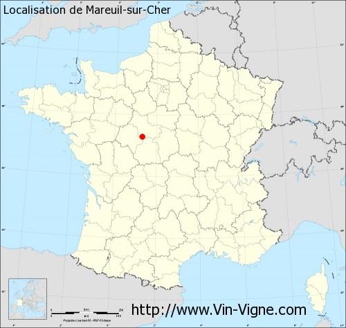 Carte de Mareuil-sur-Cher
