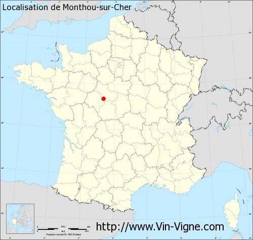 Carte de Monthou-sur-Cher