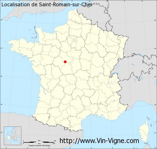 Carte de Saint-Romain-sur-Cher