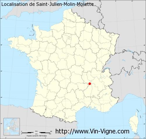 Carte de Saint-Julien-Molin-Molette