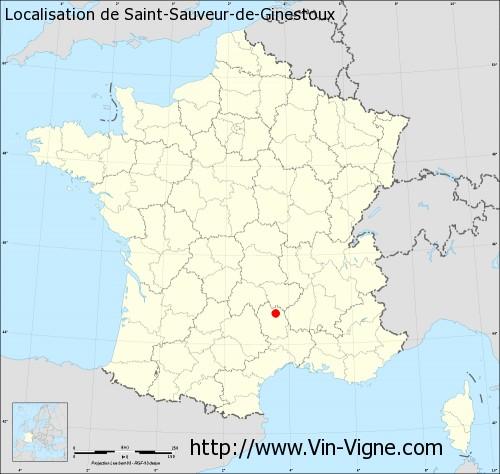 Carte de Saint-Sauveur-de-Ginestoux
