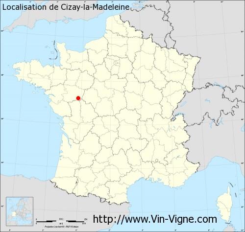 Carte de Cizay-la-Madeleine
