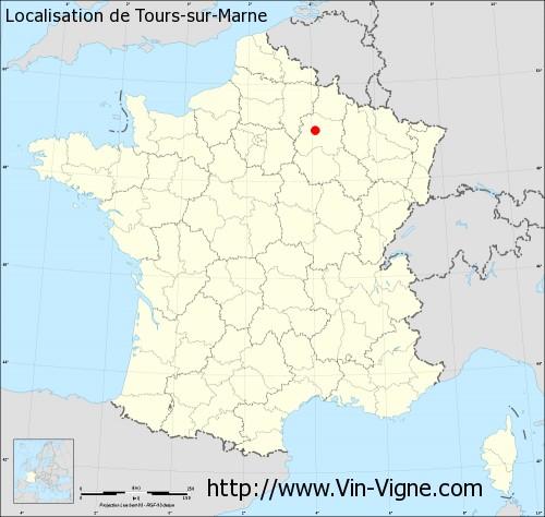 Carte de Tours-sur-Marne