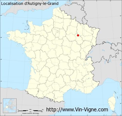 Carte d'Autigny-le-Grand
