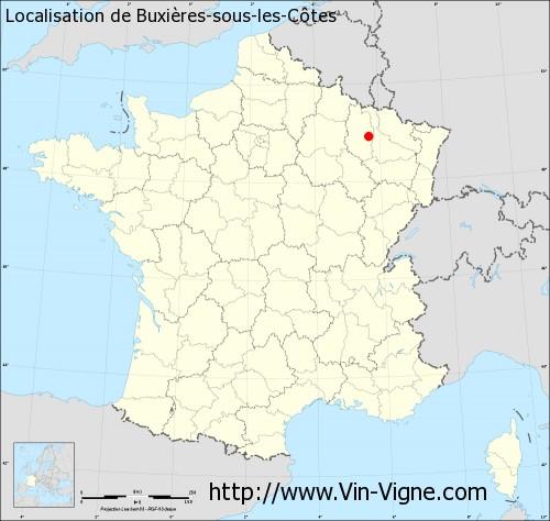 Carte de Buxières-sous-les-Côtes