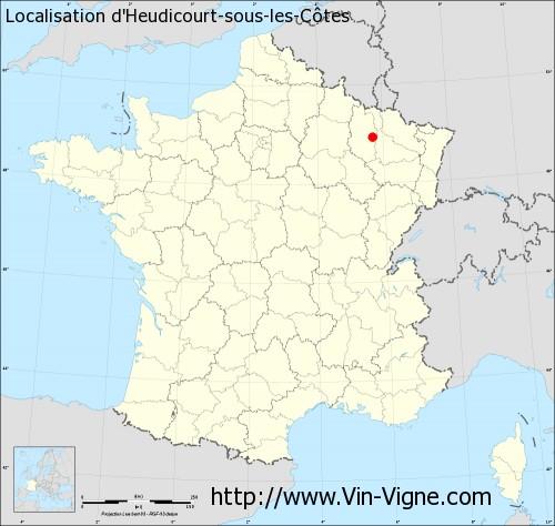 Carte d'Heudicourt-sous-les-Côtes