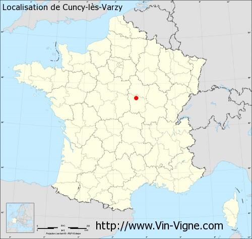 Carte de Cuncy-lès-Varzy