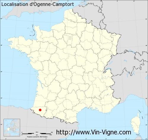 Carte d'Ogenne-Camptort