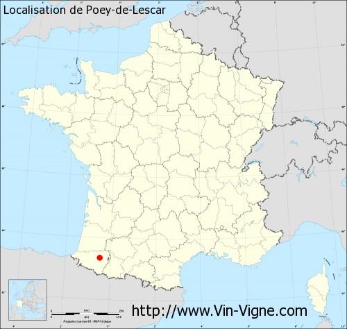 Carte de Poey-de-Lescar