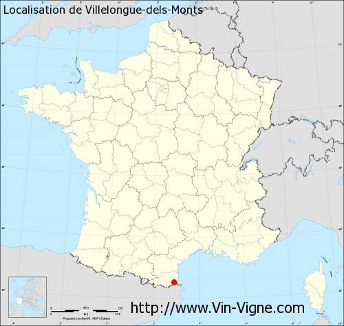 Carte de Villelongue-dels-Monts