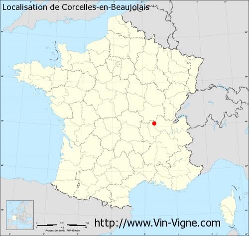 Carte  de Corcelles-en-Beaujolais