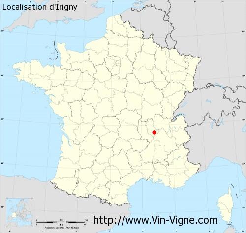 Irigny France  city images : Voici la localisation d'Irigny sur un fond de carte de France :