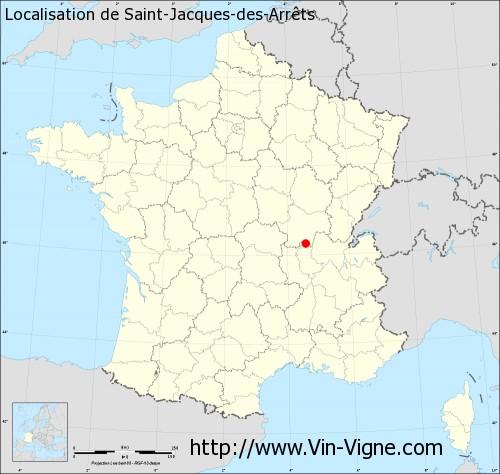 Carte de Saint-Jacques-des-Arrêts