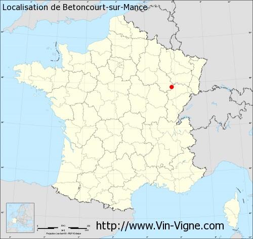 Carte de Betoncourt-sur-Mance