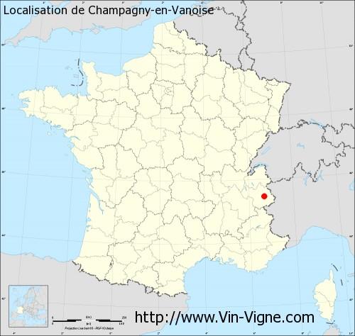 Champagny en Vanoise Carte Carte de Champagny-en-vanoise