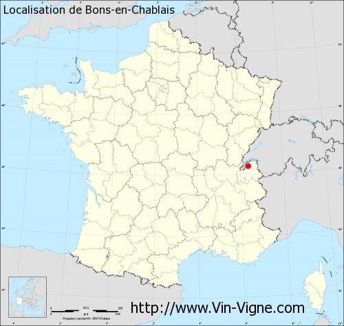Carte de Bons-en-Chablais