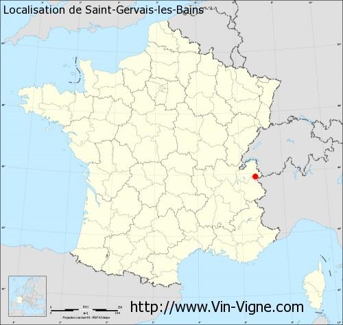 Saint-Gervais-les-Bains France  city photos gallery : ... de Saint Gervais les Bains sur un fond de carte de France
