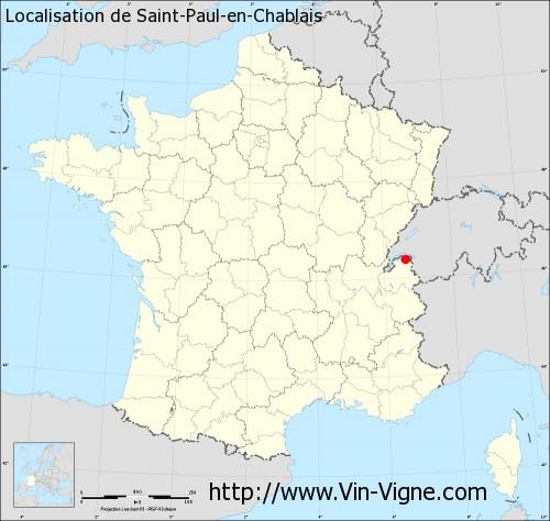 Carte de Saint-Paul-en-Chablais