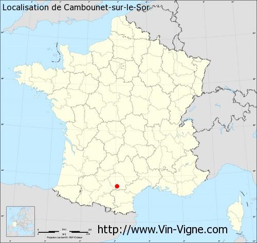Carte de Cambounet-sur-le-Sor