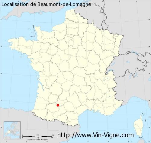 Carte de Beaumont-de-Lomagne