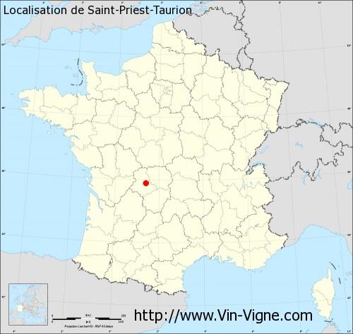 Carte de Saint-Priest-Taurion