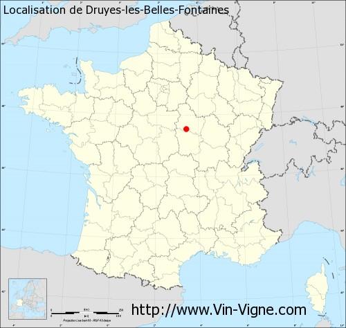 Carte de Druyes-les-Belles-Fontaines