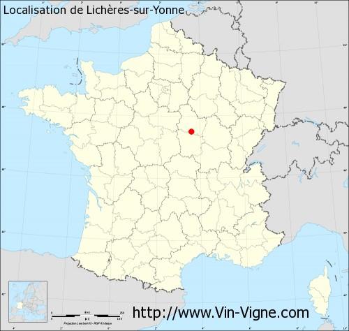 Carte de Lichères-sur-Yonne