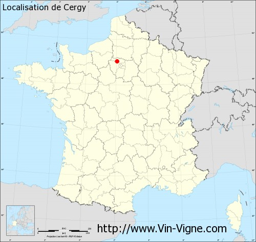 cergy sur la carte de france