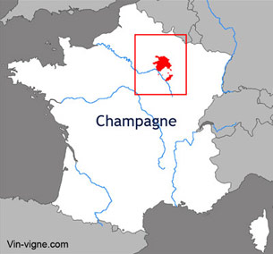 Carte viticole du vignoble de la Champagne