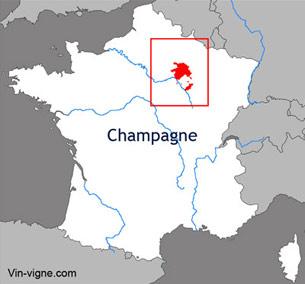 Carte du vignoble de la Champagne